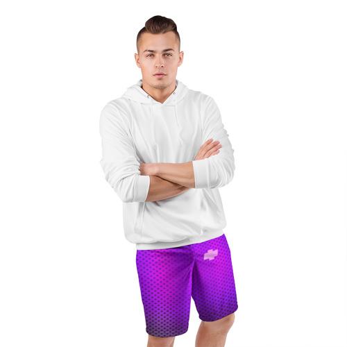Мужские шорты 3D спортивные  Фото 05, Chevroler неоновый карбон