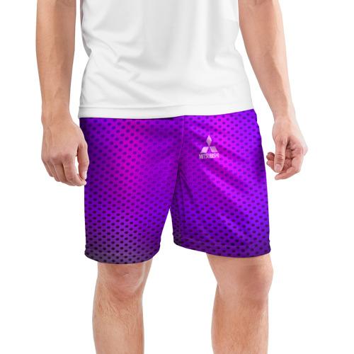 Мужские шорты 3D спортивные  Фото 03, MITSUBISHI неоновый карбон