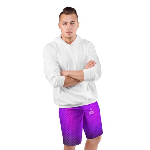 Мужские шорты 3D спортивные  Фото 05, MITSUBISHI неоновый карбон