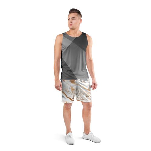 Мужские шорты 3D спортивные  Фото 04, Золотые разводы