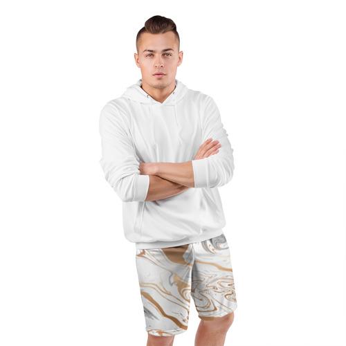Мужские шорты 3D спортивные  Фото 05, Золотые разводы