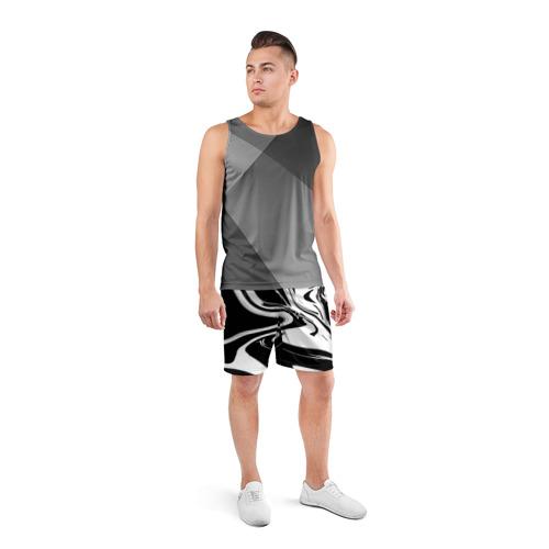 Мужские шорты 3D спортивные  Фото 04, Черно белые краски