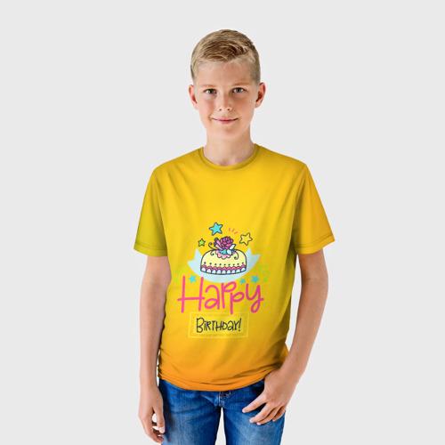 Детская футболка 3D  Фото 01, С днем рождения!
