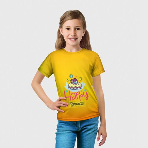 Детская футболка 3D  Фото 03, С днем рождения!