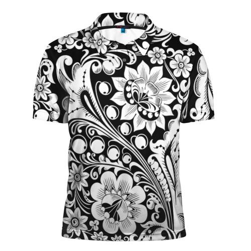 Мужская рубашка поло 3D  Фото 01, Хохлома чб