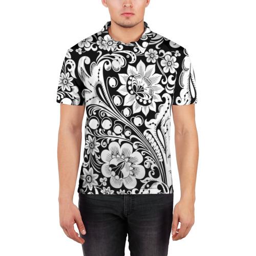 Мужская рубашка поло 3D  Фото 03, Хохлома чб