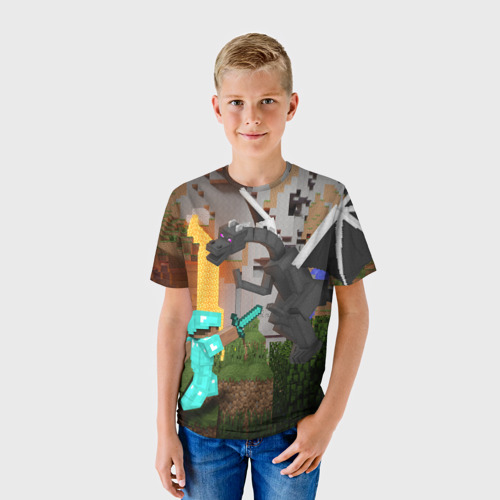 Детская футболка 3D Стив сражается с Эндердраконом