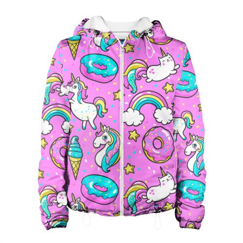 Женская куртка 3D  Фото 01, Котики и Единороги