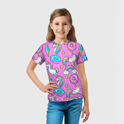 Детская футболка 3D  Фото 03, Котики и Единороги