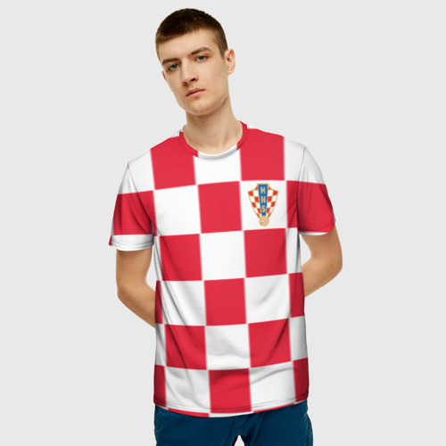 Мужская футболка 3D Хорватия домашняя форма 2018 Фото 01