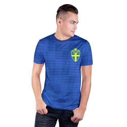 Мужская футболка 3D спортивная  Фото 03, Швеция гостевая форма ЧМ 2018