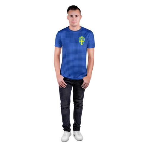 Мужская футболка 3D спортивная  Фото 04, Швеция гостевая форма ЧМ 2018