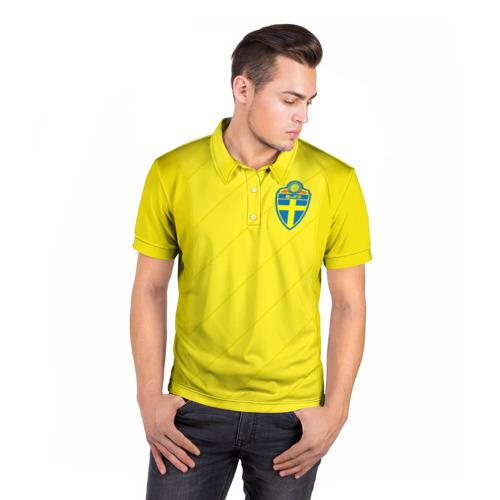 Мужская рубашка поло 3D  Фото 05, Швеция домашняя форма ЧМ 2018