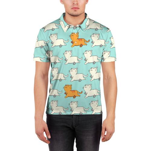 Мужская рубашка поло 3D  Фото 03, Рыжий котик