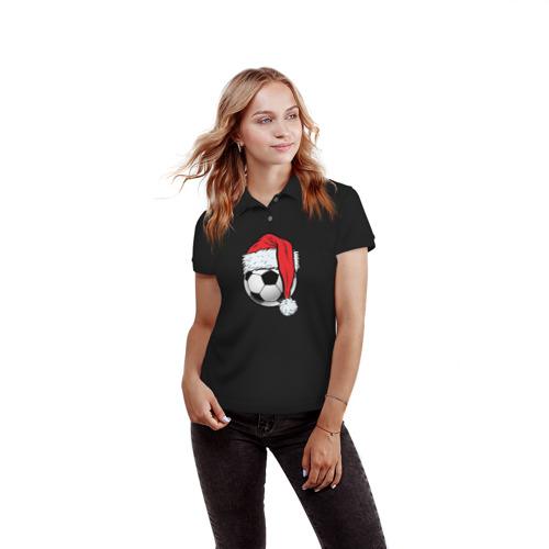 Женская рубашка поло 3D  Фото 03, Новогодний Мяч