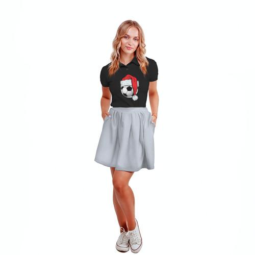 Женская рубашка поло 3D  Фото 04, Новогодний Мяч