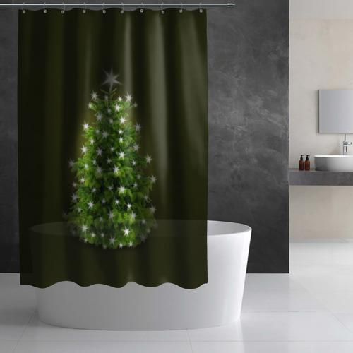 Штора 3D для ванной  Фото 02, Елка