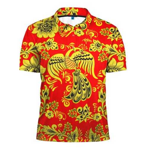 Мужская рубашка поло 3D Огненная гжель