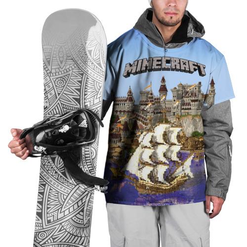 Накидка на куртку 3D  Фото 01, Корабль и замок в манкрафт.