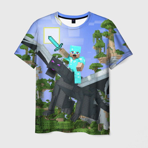 Мужская футболка 3D  Фото 03, Стив среди парящих островов.