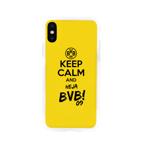 Чехол для Apple iPhone X силиконовый глянцевый Keep calm and Heja BVB