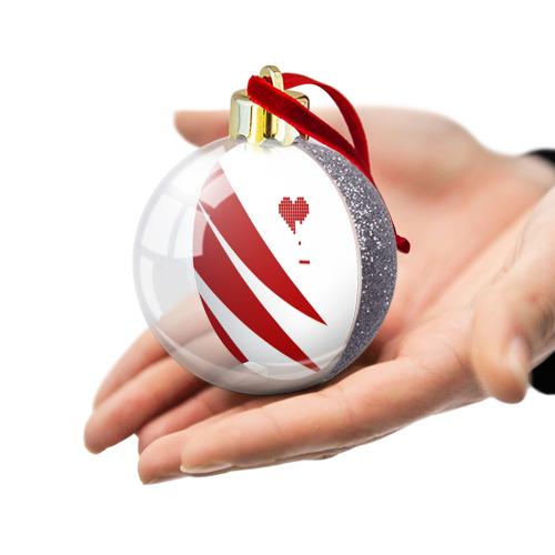 Ёлочный шар с блестками  Фото 03, Сердца красное