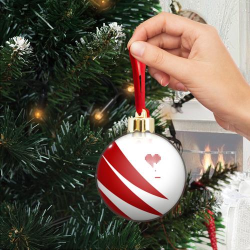 Ёлочный шар с блестками  Фото 04, Сердца красное