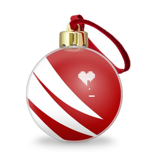Ёлочный шар с блестками  Фото 01, Сердца белое