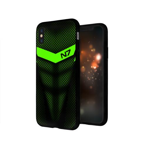 Чехол для Apple iPhone X силиконовый глянцевый Mass Effect N7 Фото 01