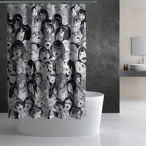 Штора 3D для ванной Ахегао Фото 01