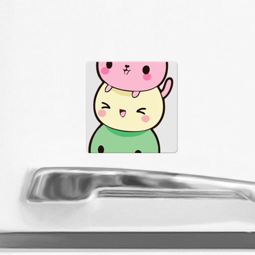Магнит виниловый Квадрат  Фото 02, Мороженое Коты