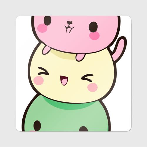Магнит виниловый Квадрат  Фото 01, Мороженое Коты