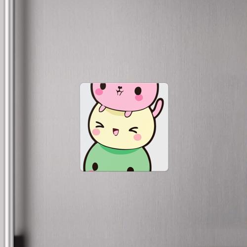 Магнит виниловый Квадрат  Фото 04, Мороженое Коты