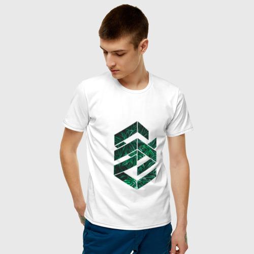 Мужская футболка хлопок Зелёная геометрия Фото 01