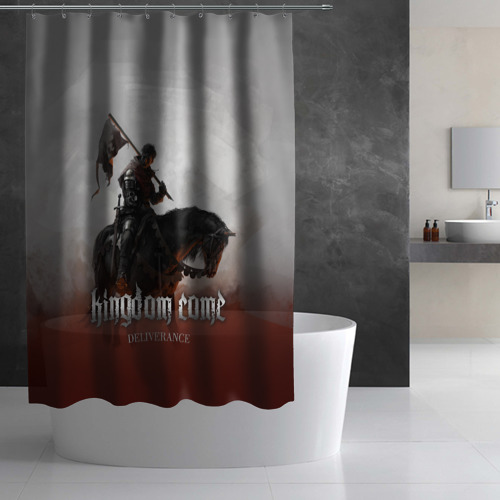 Штора 3D для ванной  Фото 02, Рыцарь на коне