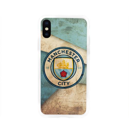 Чехол для Apple iPhone X силиконовый глянцевый Манчестер сити олд
