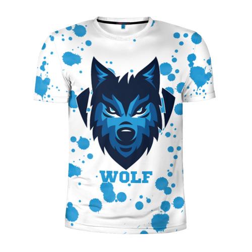 Мужская футболка 3D спортивная  Фото 01, Синий волк