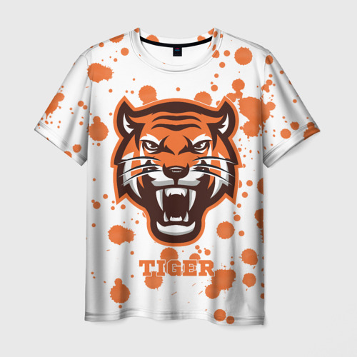 Мужская футболка 3D  Фото 01, Огненный тигр