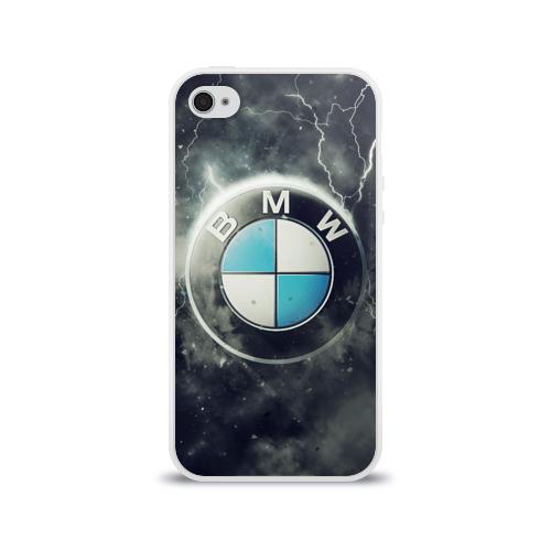 Чехол для Apple iPhone 4/4S силиконовый глянцевый Логотип BMW Фото 01