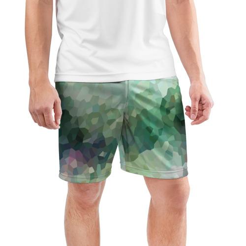 Мужские шорты 3D спортивные  Фото 03, Геометрия ХАКИ