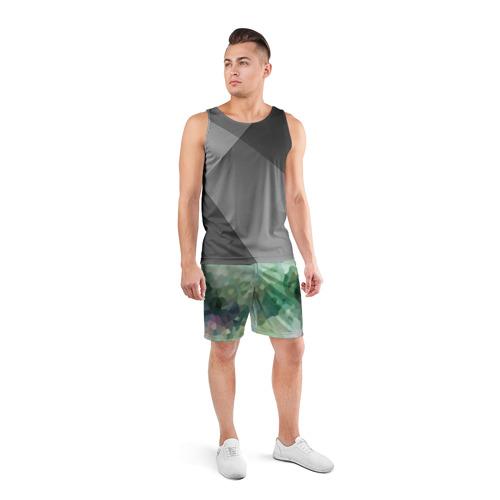 Мужские шорты 3D спортивные  Фото 04, Геометрия ХАКИ