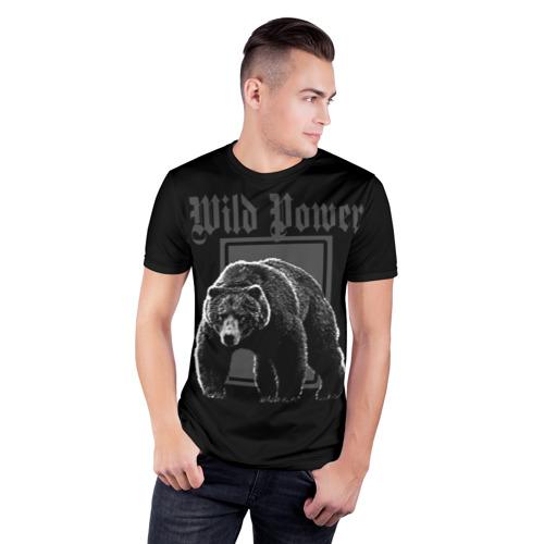 Мужская футболка 3D спортивная  Фото 03, Медведь