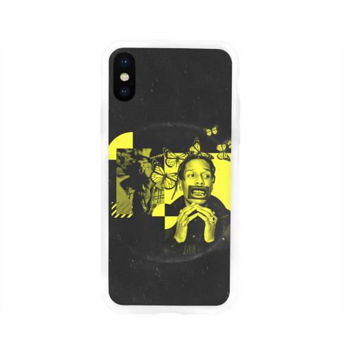 Чехол для Apple iPhone X силиконовый глянцевый ASAP Rocky. TESTING Фото 01