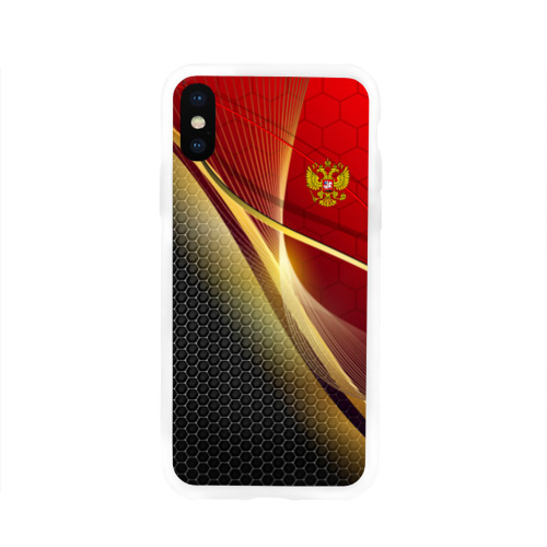 Чехол для Apple iPhone X силиконовый глянцевый RUSSIA SPORT: Red and Black Фото 01