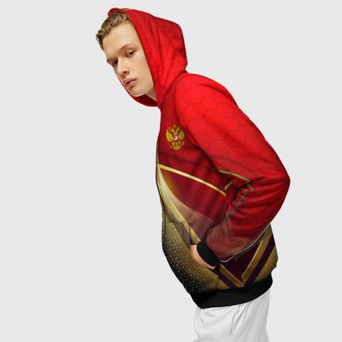 Мужская толстовка 3D на молнии RUSSIA SPORT: Red and Black. Фото 01