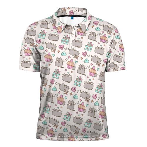 Мужская рубашка поло 3D Pusheen Праздничный Паттерн