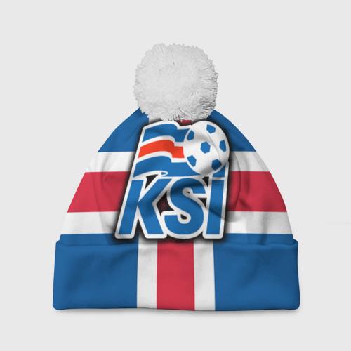Шапка 3D c помпоном Сборная Исландии флаг