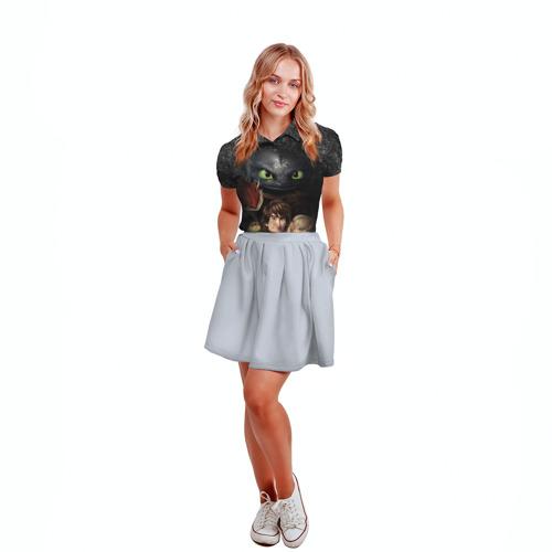 Женская рубашка поло 3D Беззубик и викинги Фото 01