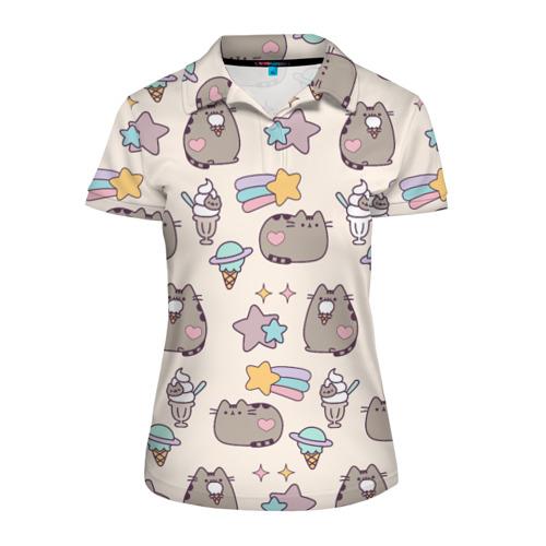 Женская рубашка поло 3D Pusheen Звезды И Мороженое
