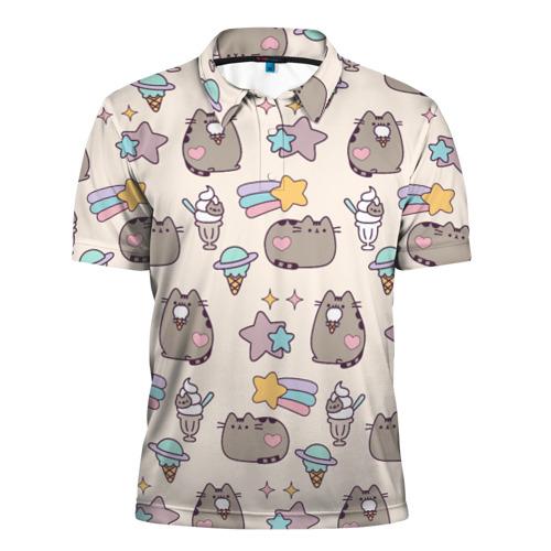 Мужская рубашка поло 3D Pusheen Звезды И Мороженое